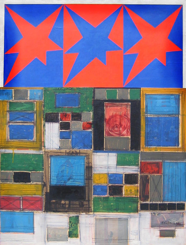 Herbert Kaufmann, Three Stars III, 1966, Mischtechnik, Collage auf Leinwand, 130 x 100 cm