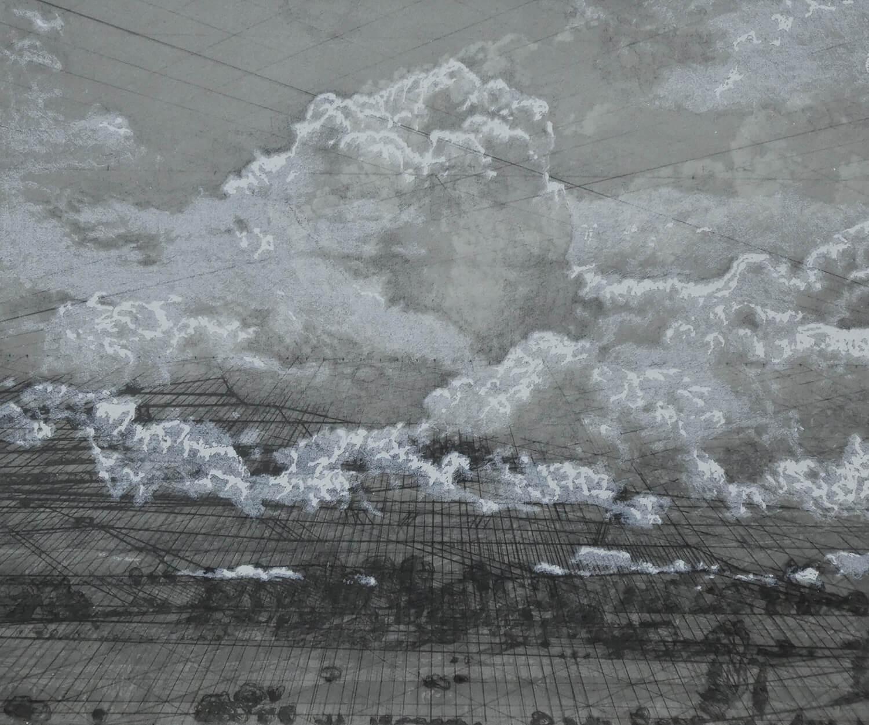 Heike Negenborn, Weiße Wolke Nr. 5, 2019, Pigmenttinte, Grafitstift, Kohlestift, Kreide, Chine collé auf Büttenpapier, gerahmt, 50 x 60 cm