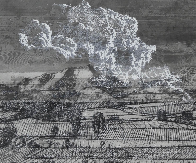 Heike Negenborn, Weiße Wolke Nr. 6, 2019, Pigmenttinte, Grafitstift, Kohlestift, Kreide, Chine collé auf Büttenpapier, gerahmt, 50 x 60 cm