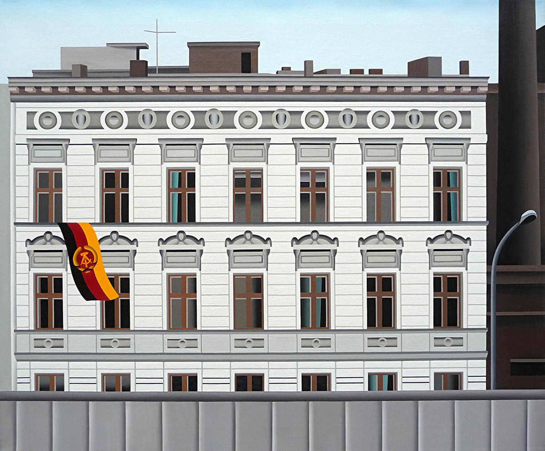 Jan Schüler, Berlin: Abend an der Mauer, 2021, Öl auf Leinen, 100 x 120 cm