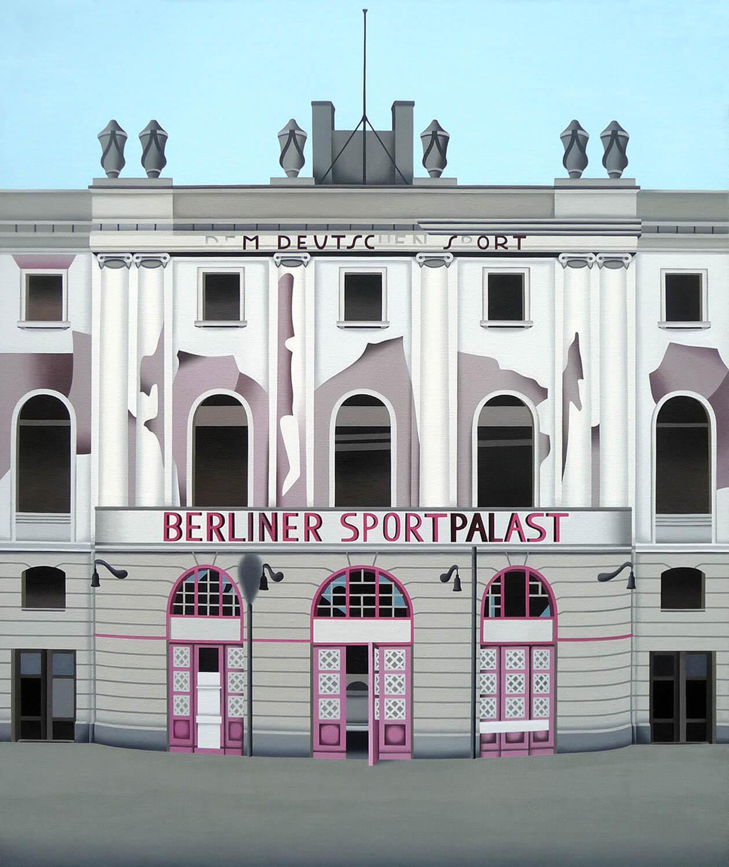 Jan Schüler, Berlin: Sportpalast, 2018, Öl auf Leinen, 120 x 100 cm