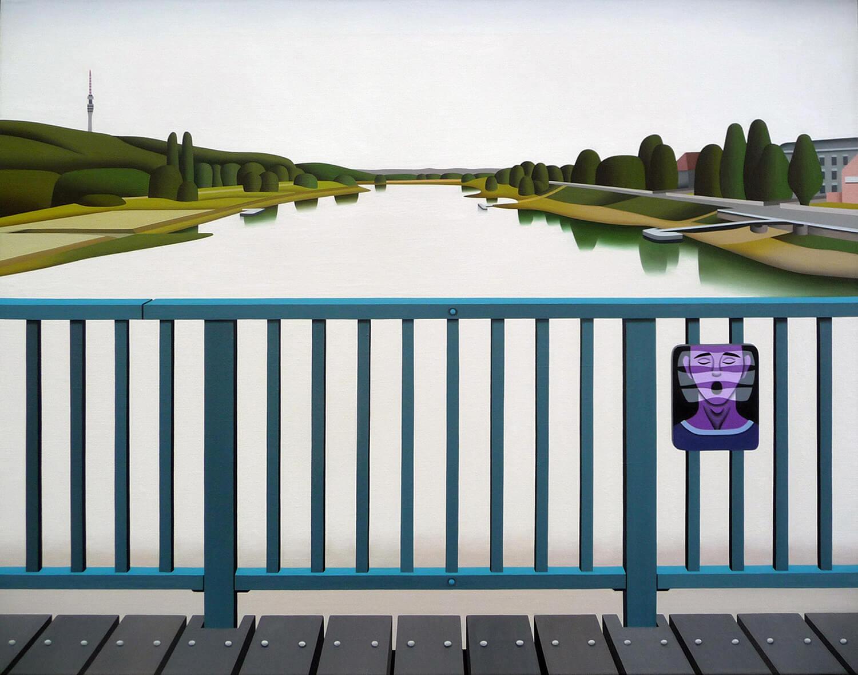 Jan Schüler, Dresden: Blick vom Blauen Wunder auf die Elbe, 2020, Öl auf Leinen, 110 x 140 cm