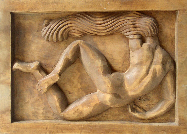 Genni / Jenny Wiegmann-Mucchi, Akt mit wehenden Haaren, 1920er Jahre, Holzrelief, 33,5 x 47,3 cm