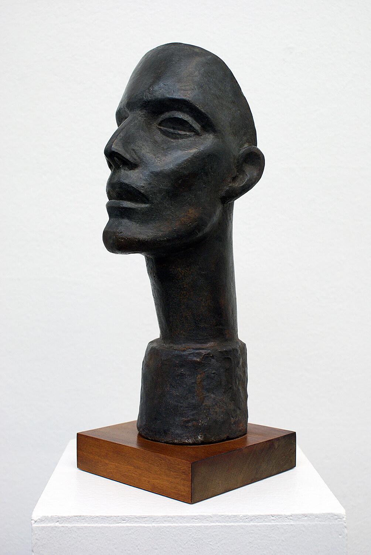 Genni / Jenny Wiegmann-Mucchi, Männlicher Kopf, 1920er Jahre, Bronze, Auflage: 6, Höhe 36,5 cm