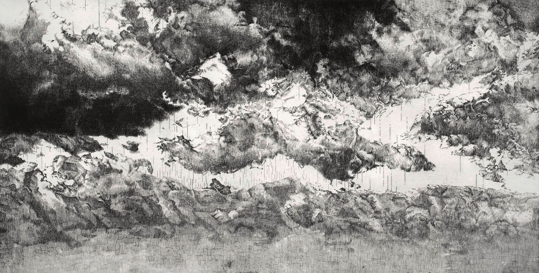 ORLANDO, Sehnung (Fragment II), 2014, Radierung, 88,5 x 174 cm