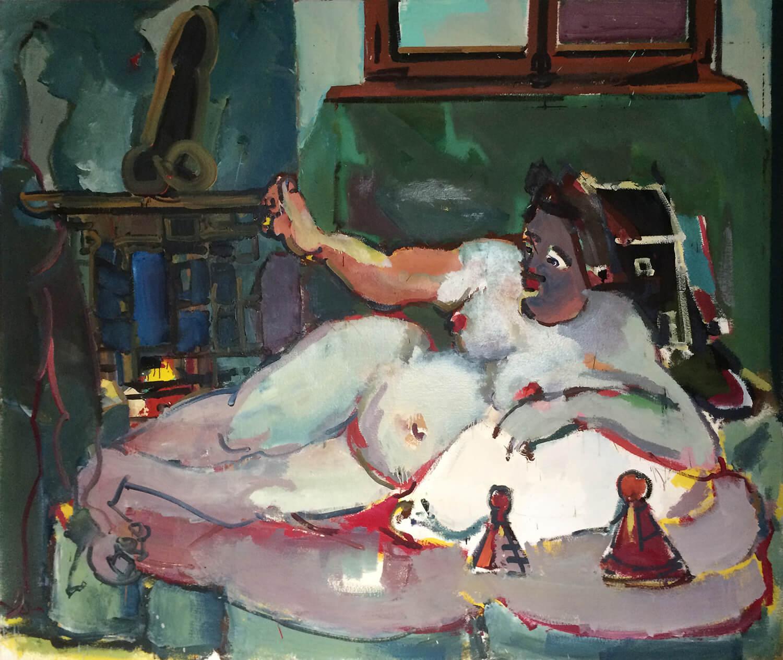 Lambert Maria Wintersberger, o. T. (Liegender Akt vor Kamin), 1986, Öl auf Leinwand, 190 x 225 cm