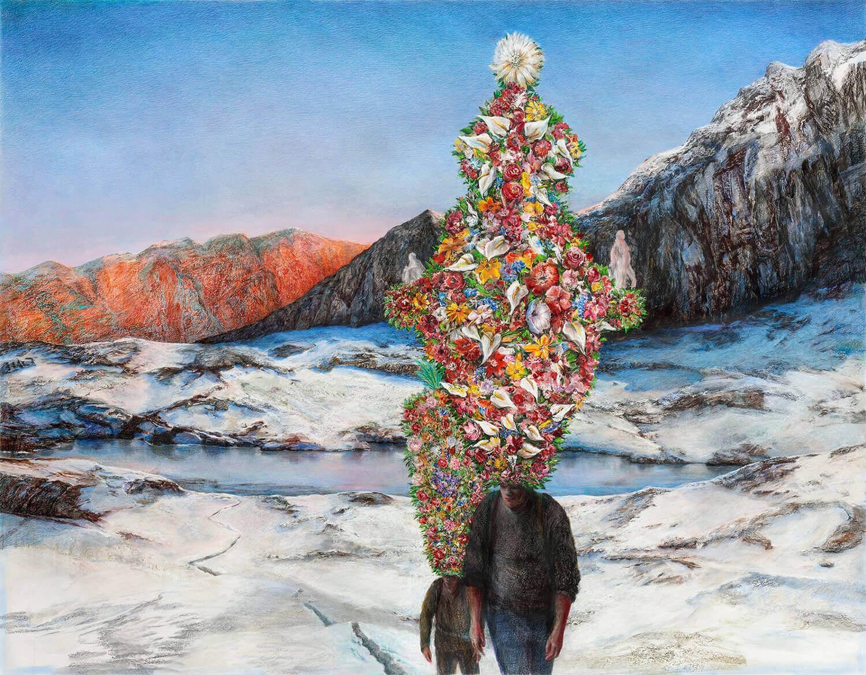 Martina Altschäfer, Frühling, 2020, Farbstift und Pastell auf Papier, 126 x 160 cm