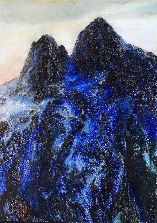 Martina Altschäfer, Gotthard 2, 2021, Pastell auf Papier, 100 x 70 cm