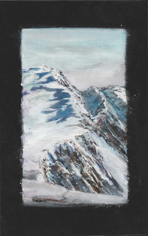 Martina Altschäfer, Schnee, 2016, Farbstift, Pastell und Gouache auf Karton, 27 x 16 cm