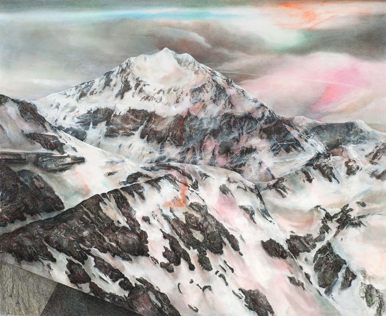 Martina Altschäfer, Winterberg, 2015, Farbstift und Pastell auf Papier, 126 x 159 cm