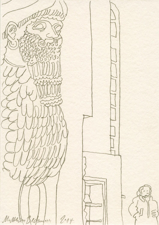Matthias Beckmann, Assyrische Skulptur im Pergamonmuseum, 2014, Bleistift auf Papier, 14,8 x 10,5 cm