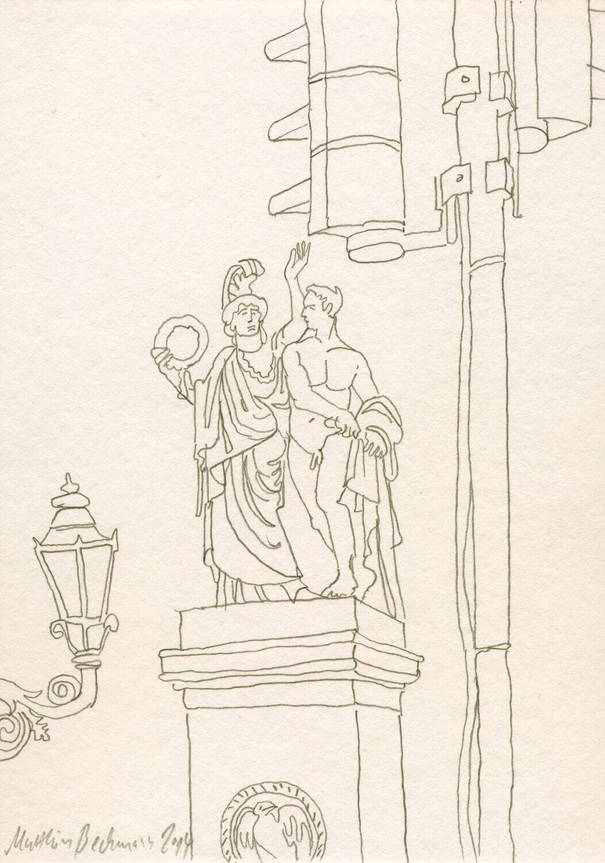 Matthias Beckmann, Auf der Schlossbrücke, 2014, Bleistift auf Papier, 14,8 x 10,5 cm
