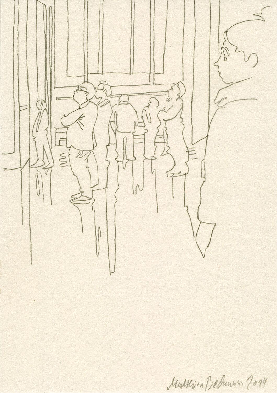 Matthias Beckmann, Besucher im Pergamonmuseum, 2014, Bleistift auf Papier, 14,8 x 10,5 cm