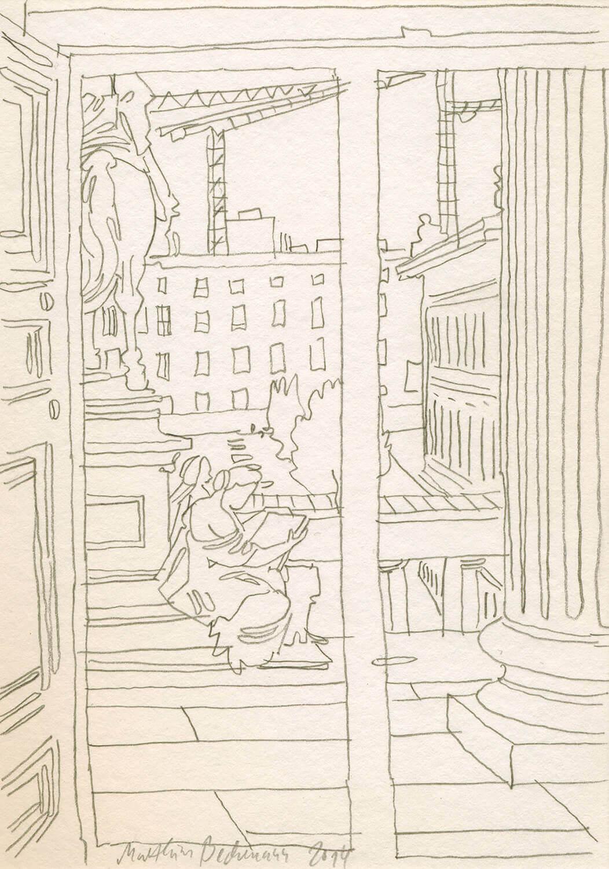 Matthias Beckmann, Blick aus der Alten Nationalgalerie auf den Rohbau des Schlosses, 2014, Bleistift auf Papier, 14,8 x 10,5 cm
