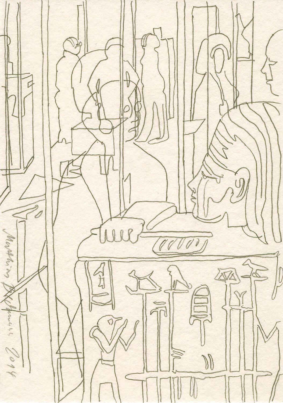 Matthias Beckmann, Hyroglyphen und allerlei Durchblicke im Neuen Museum, 2014, Bleistift auf Papier, 14,8 x 10,5 cm