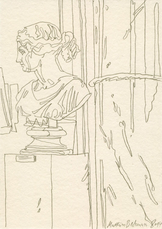 Matthias Beckmann, In der Alten Nationalgalerie, 2014 (2), Bleistift auf Papier, 14,8 x 10,5 cm