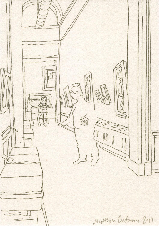 Matthias Beckmann, In der Alten Nationalgalerie, 2014, Bleistift auf Papier, 14,8 x 10,5 cm