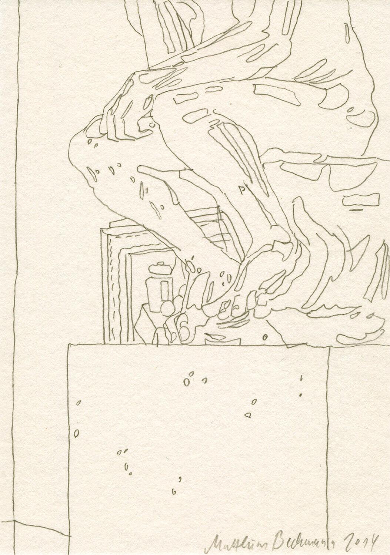 Matthias Beckmann, Rodins Denker in der Alten Nationalgalerie, 2014, Bleistift auf Papier, 14,8 x 10,5 cm