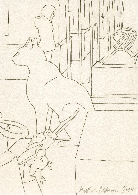 Matthias Beckmann, Ägyptische Katze im Neuen Museum, 2014, Bleistift auf Papier, 14,8 x 10,5 cm