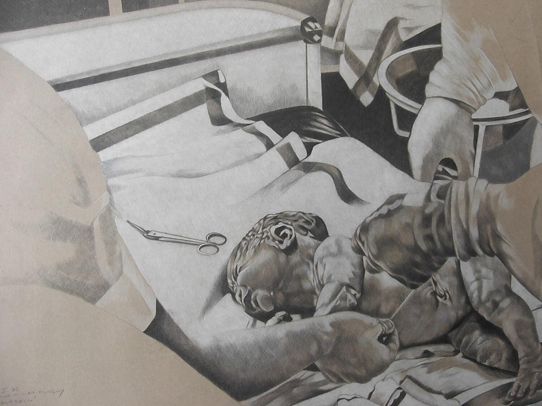 Maina-Miriam Munsky, Abnabeln, 1976, Farbstift auf Karton, 70 x 100 cm