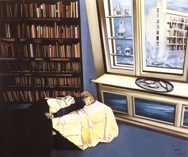 Maina-Miriam Munsky, Daniel auf der Liege, 1986, Acryl auf Nessel, 150 x 180 cm
