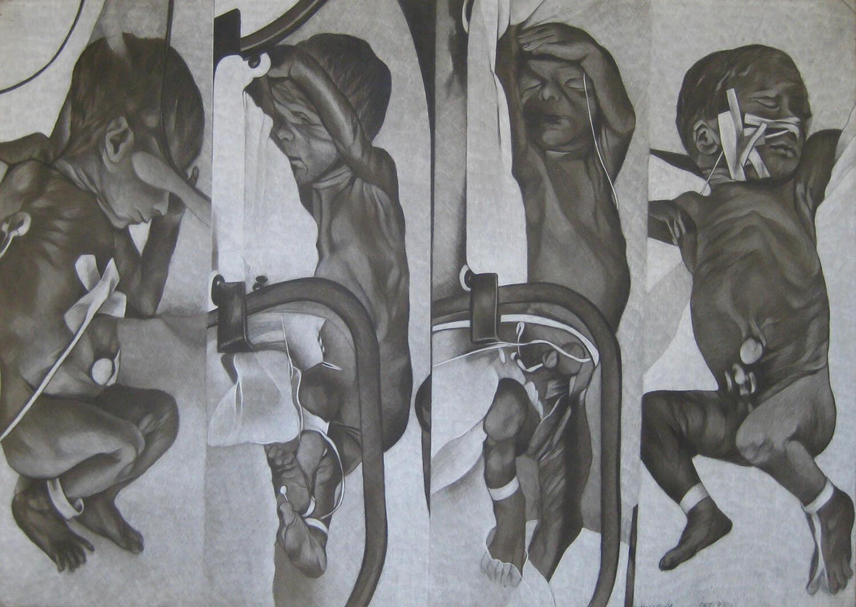 Maina-Miriam Munsky, Gonadotropin, 1975, Farbstift auf Karton, 70 x 100 cm