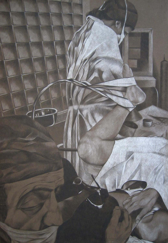 Maina-Miriam Munsky, Nach London fahren, 1975, Farbstift auf Papier, 100 x 70 cm