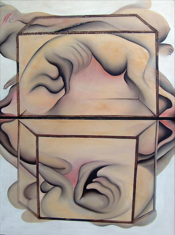 Maina-Miriam Munsky, Zwei Kästen, 1967, Acryl auf Nessel, 124 x 93 cm