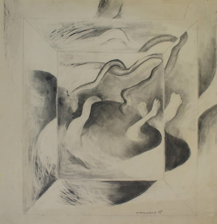 Maina-Miriam Munsky, o. T., 1968, Bleistift auf Papier, 46,3 x 44,8 cm