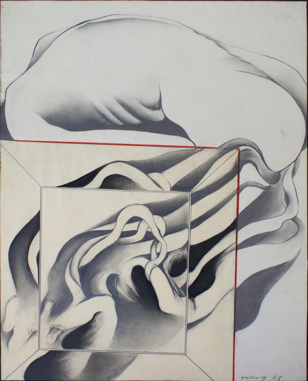 Maina-Miriam Munsky, o. T. (IX), 1968, Blei- und Farbstift auf Papier, 62,3 x 49,5 cm