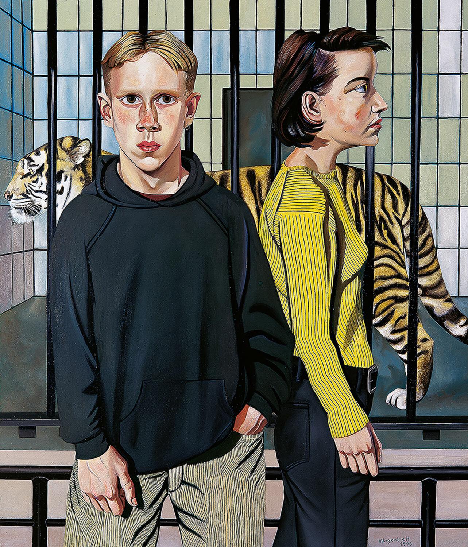 Norbert Wagenbrett, Am Tigerkäfig, 1996, Öl auf Leinwand, 140 x 120 cm