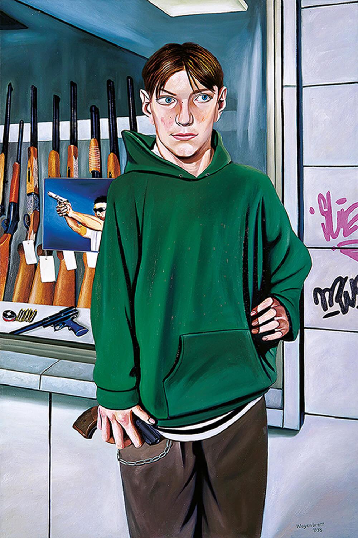 Norbert Wagenbrett, Das Spiel, 1998, Öl auf Leinwand, 150 x 100 cm