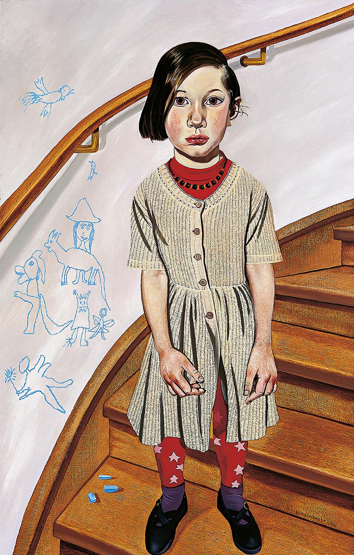 Norbert Wagenbrett, Mädchen mit blauer Kreide, 1996, Öl auf Leinwand, 140 x 90 cm