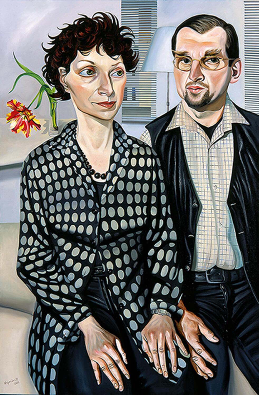 Norbert Wagenbrett, Paar mit Tulpe, 2002, Öl auf Leinwand, 150 x 100 cm