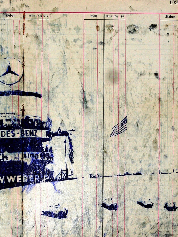 Peer Boehm, Berlin - Carerra, 2020, Kugelschreiber auf bedrucktem Papier auf Holz, 40 x 30 cm