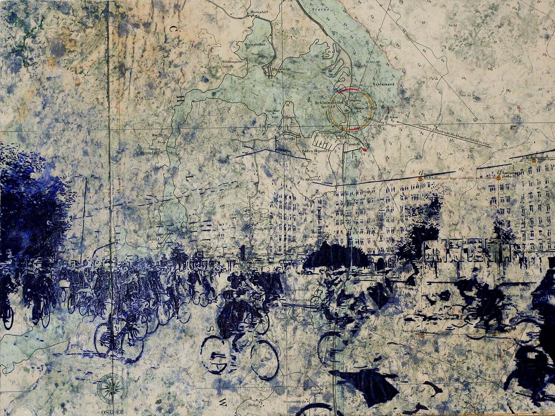 Peer Boehm, Berlin, 2020, Kugelschreiber auf Seekarte auf Holz, 30 x 40 cm