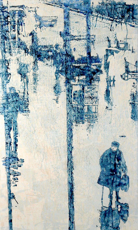 Peer Boehm, Daheim ist am schönsten - Berlin-Müllerstrasse, 2020, Aquarell und Acryl auf Leinwand, 150 x 90 cm