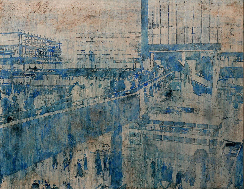 Peer Boehm, Daheim ist am schönsten, 2020, Aquarell, Tusche, Rost und Acryl auf Leinwand, 80 x 100 cm