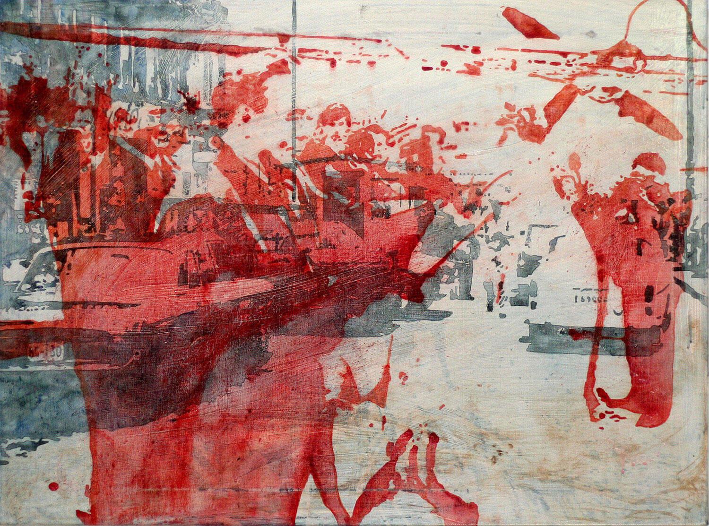 Peer Boehm, Grenzerfahrung, 2020, Aquarell, Tusche, Acryl und Rost auf Leinwand, 70 x 90 cm