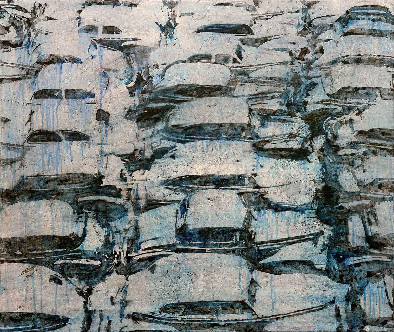 Peer Boehm, Schon wieder Autokino, 2020, Aquarell, Tusche und Acryl auf Leinwand, 80 x 95 cm