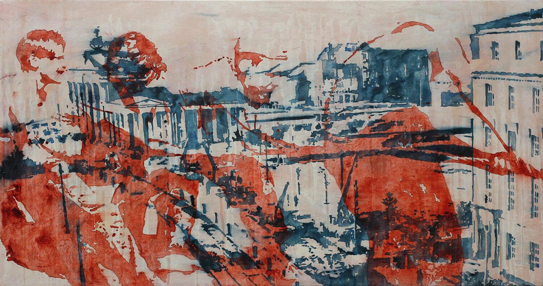 Peer Boehm, Tauziehen, 2020, Aquarell, Tusche und Acryl auf Leinwand, 50 x 95 cm