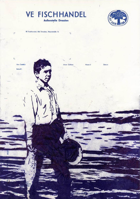 Peer Boehm, VE Fischhandel, 2020-4, Kugelschreiber auf bedrucktem Papier, 29.70 x 21 cm
