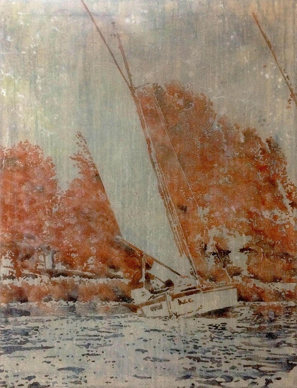 Peer Boehm, Woanders ist auch schön, 2017, Aquarell, Tusche und Acryl auf Leinwand, 90 x 70 cm