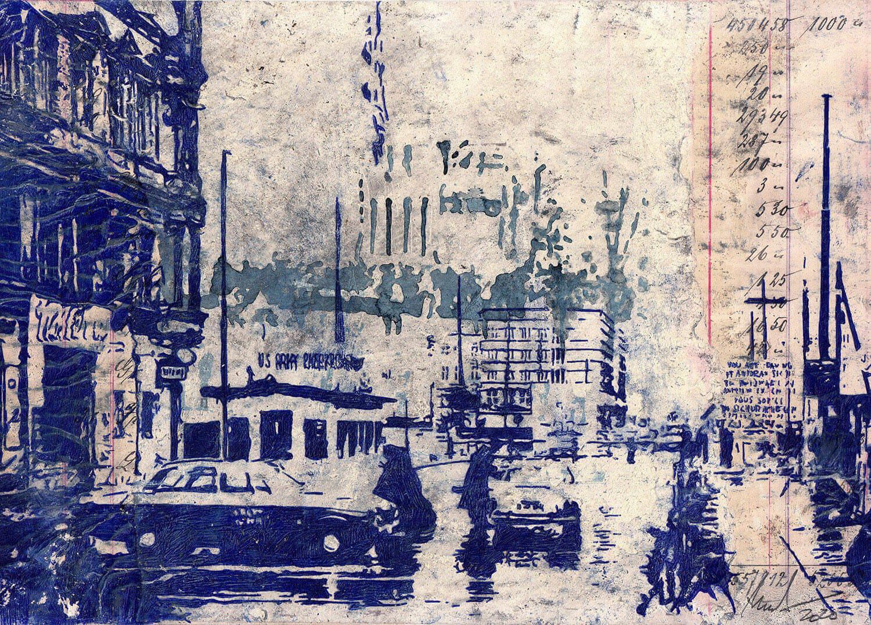 Peer Boehm, Woanders ist auch schön, 2020, Kugelschreiber auf Collage, 21 x 30 cm