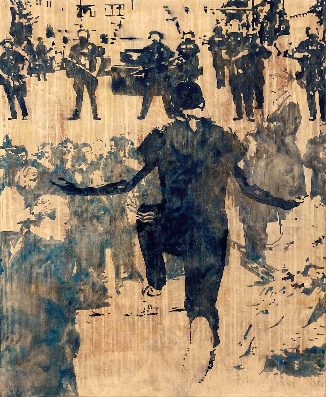 Peer Boehm, ohne Titel, 2020, Aquarell, Tusche, Acryl und Schellack auf Leinwand, 115 x 95 cm