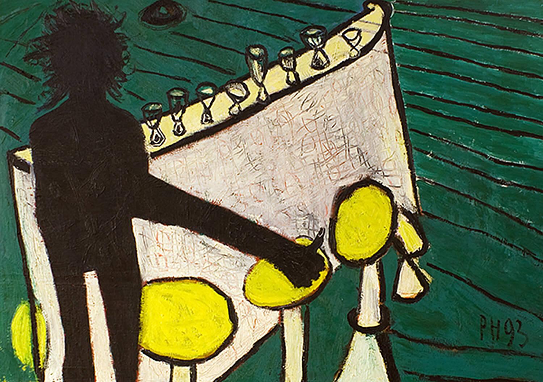 Peter Herrmann, Bitte noch'n Grappa (Selbst am Tresen), 1993, Öl auf Leinwand, 114 x 162 cm