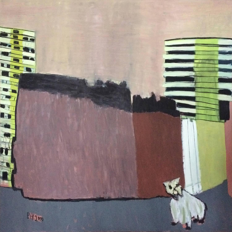 Peter Herrmann, Hinter Schering, 2000, Öl auf Leinwand, 200 x 200 cm