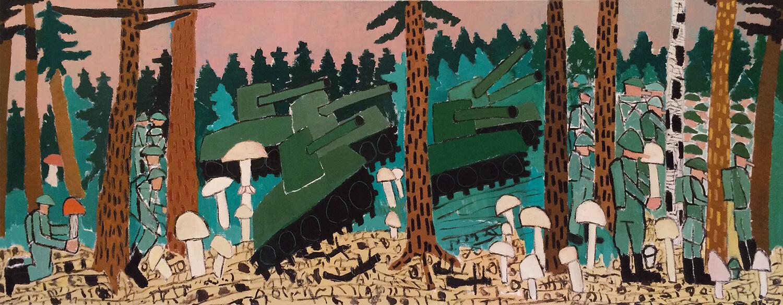 Peter Herrmann, In den Sächsischen Wäldern - August 1968, 2003, Öl auf Leinwand, 125 x 315 cm