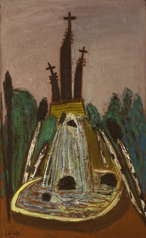 Peter Herrmann, Kreuzberg, 1990, Öl auf Leinwand, 130 x 80 cm