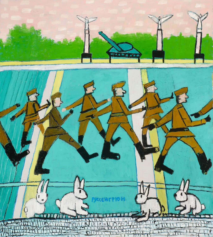Peter Herrmann, Russengrün, 2016, Öl auf Leinwand, 190 x 170 cm